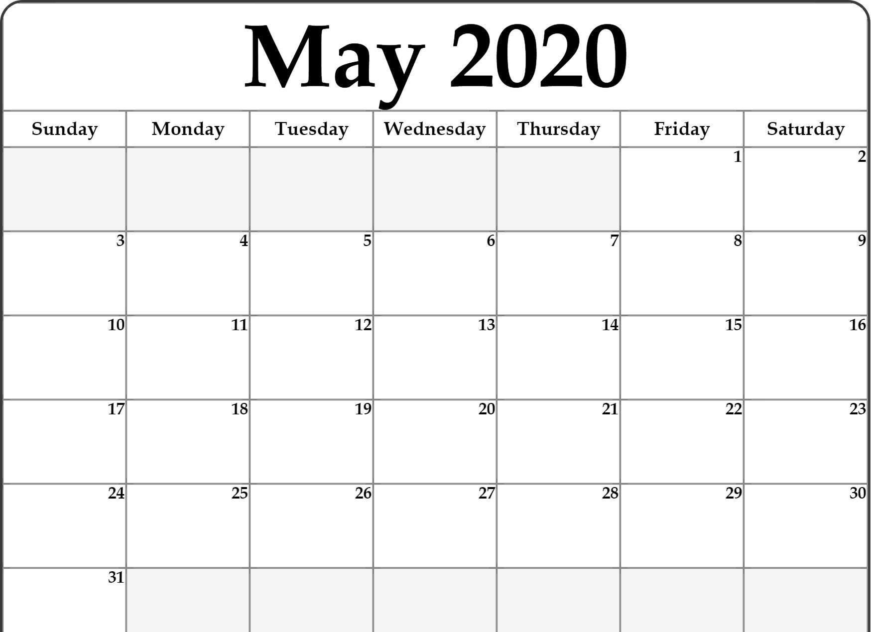 Free Fillable May Calendar 2020 Template
