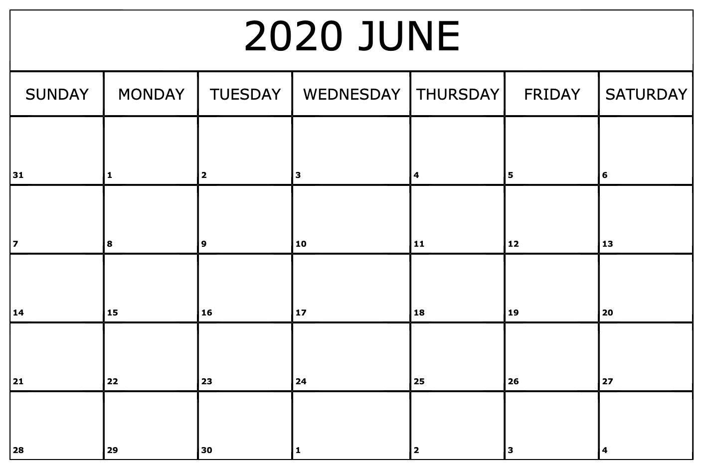 June 2020 US Calendar Holidays