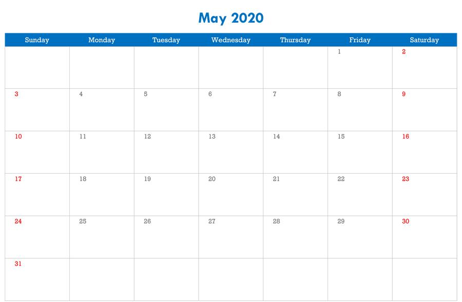 May 2020 Calendar Editable