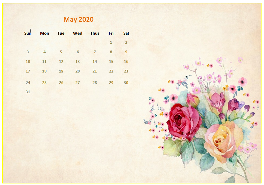 May 2020 Calendar Wallpaper for iPhone
