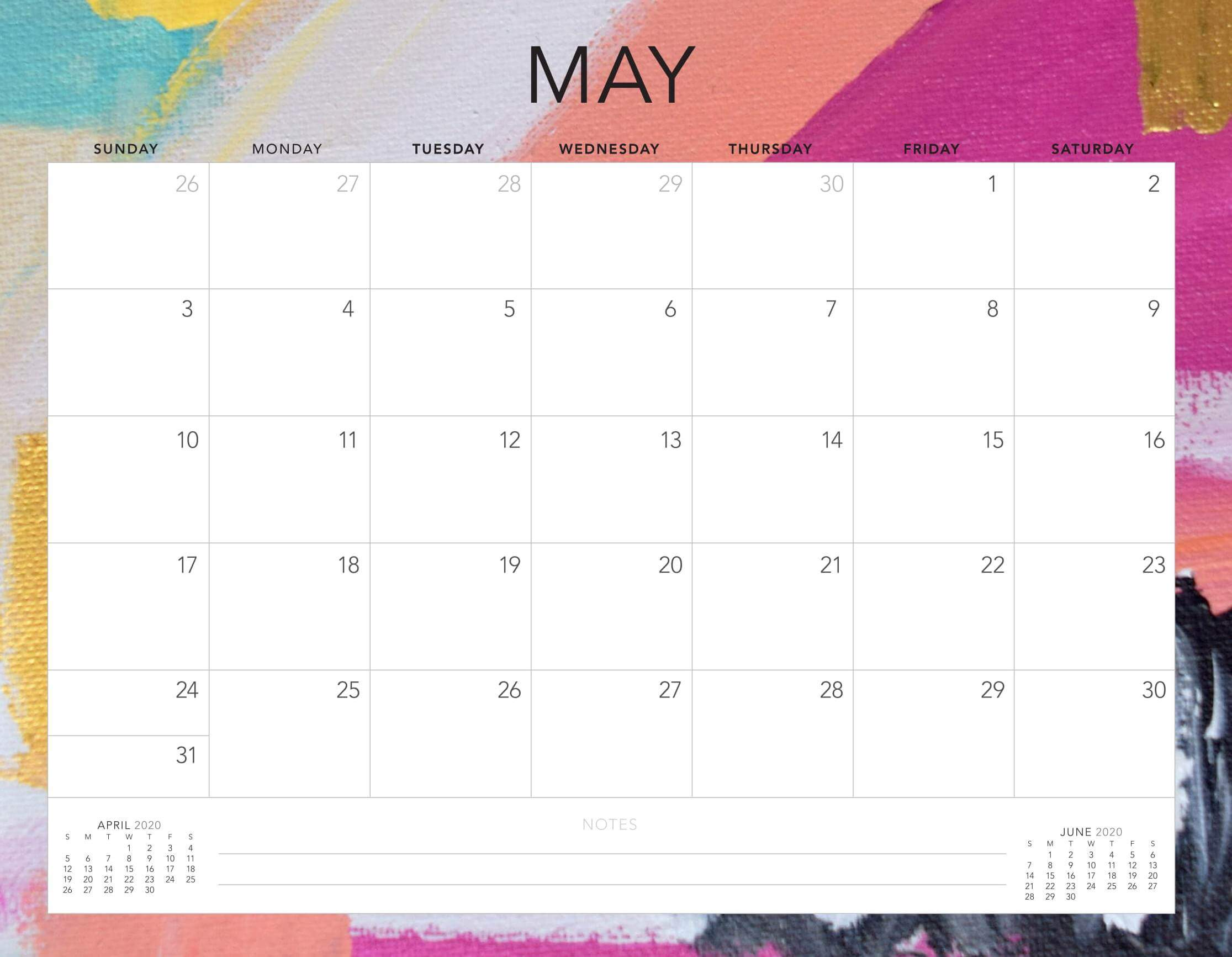 Online Cute May 2020 Calendar