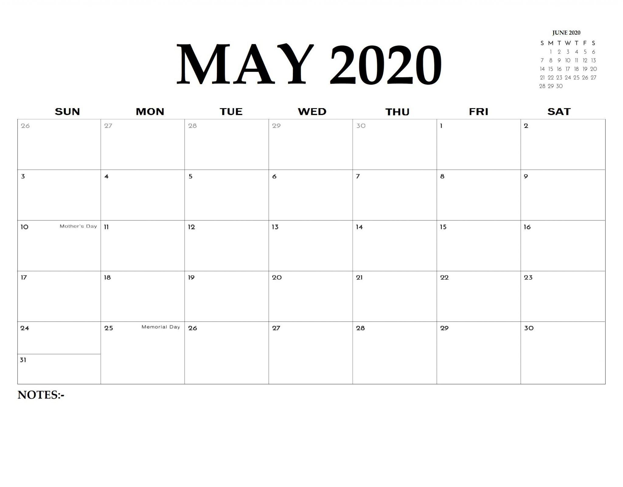 Printable May 2020 Editable Calendar Template