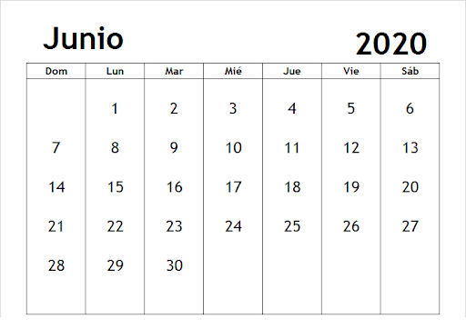 Calendario imprimible de junio de 2020