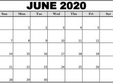 Free Printable June 2020 Calendar Excel