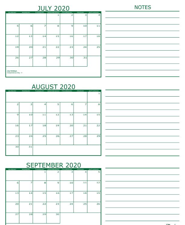 3 Month Calendar 2020 July August September