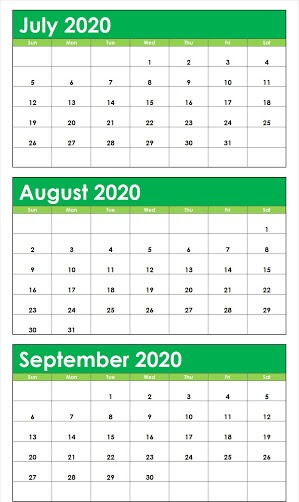 Cute July August September Calendar 2020