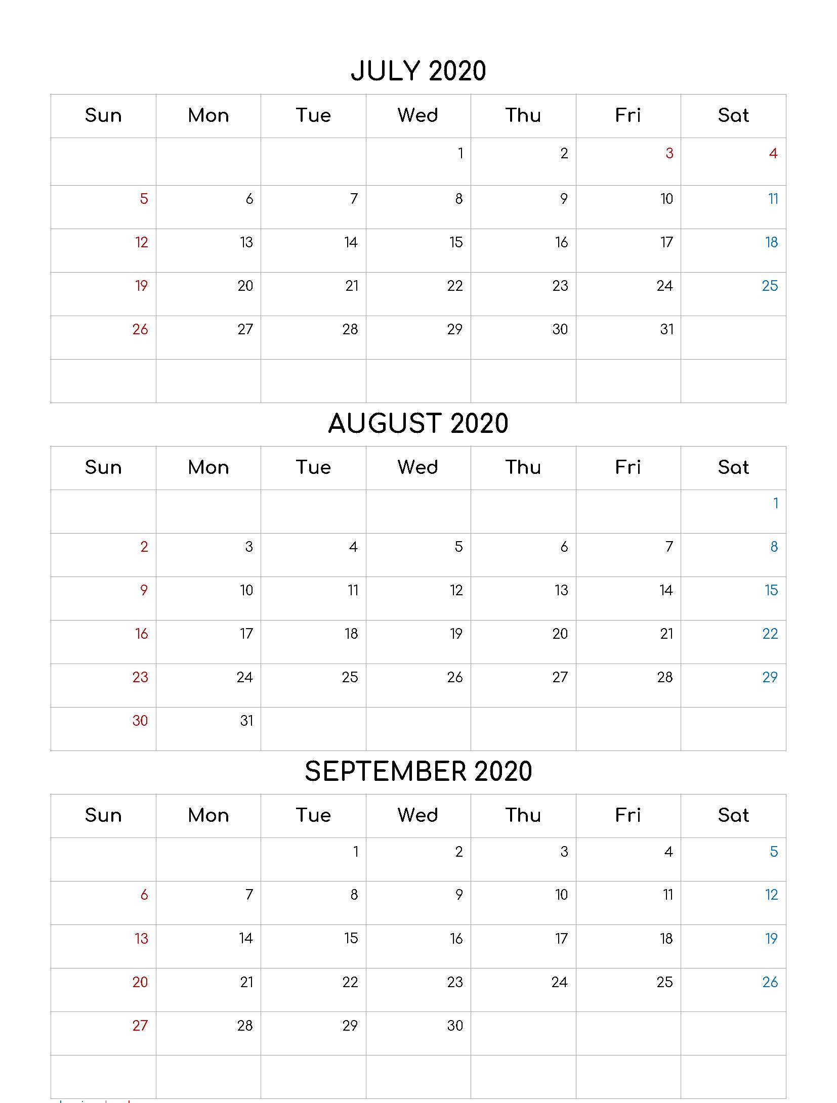 Free 2020 July August September Calendar Template