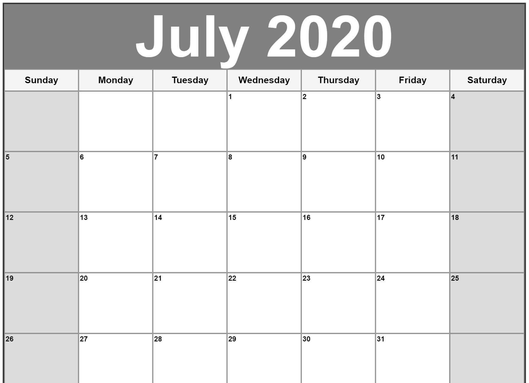 July 2020 Moon Calendar Template