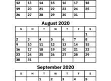 July August September Calendar 2020