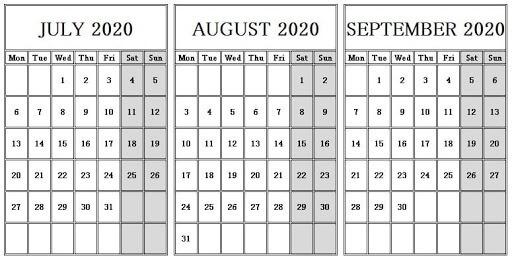 July To September Calendar 2020