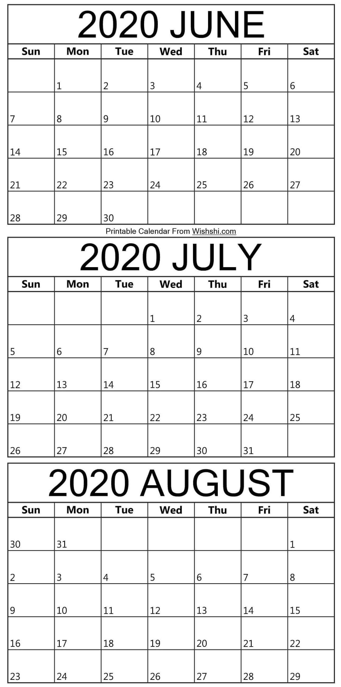 June To August Calendar 2020