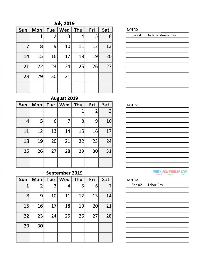 Printable July August September Calendar 2020